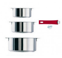 Série de 3 casseroles amovibles Mutine framboise , Cristel