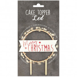 Cake topper LED Merry Christmas, Scrapcooking