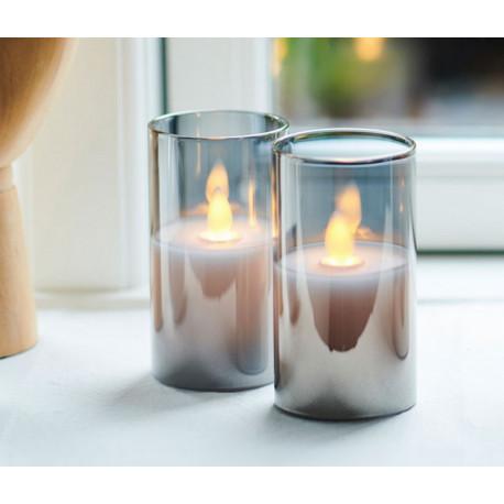 Set de 2 mini bougies Led Ivy gris, Sirius