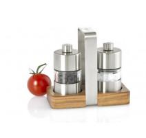Set 2 mini moulins sel/poivre avec plateau, AdHoc.