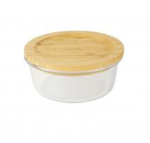 Boîte ronde en verre et bambou 620ml, Pebbly