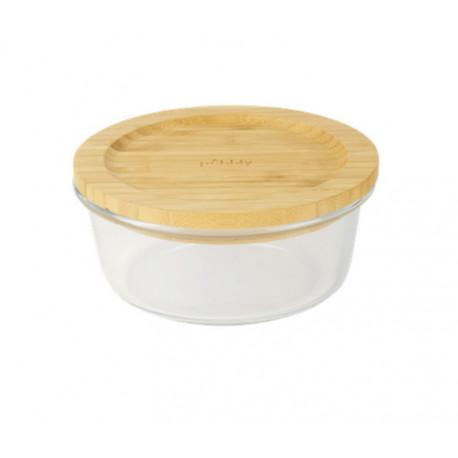 Boîte ronde en verre et bambou, Pebbly