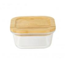 Boîte carrée en verre et bambou 520ml, Pebbly