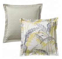 Taie d'oreiller Palm House anthracite, Blanc des Vosges