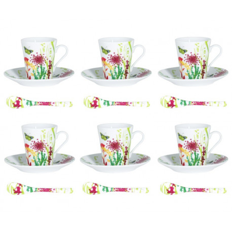 Coffret 6 tasses à café avec cuillères Tutti Fiori, Table Passion