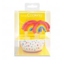24 Caissettes + 24 Cakes Toppers Rainbow, ScrapCooking