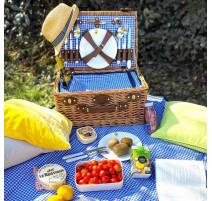 Panier picnic Marly bleu vichy, Les Jardins de la comtesse