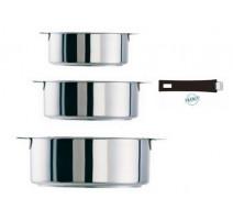 Série de 3 casseroles amovibles Mutine noir, Cristel