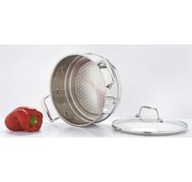 Elément cuit vapeur inox + couvercle verre 24cm, Classic Deluxe
