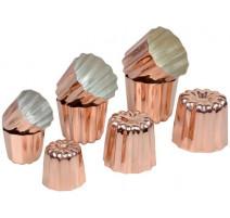 """Moule à canelés en cuivre """"Bouchée"""" x6 (35mm)"""
