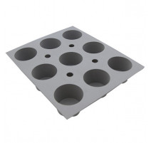 Plaque 9 mini-muffins Elastomoule, De Buyer