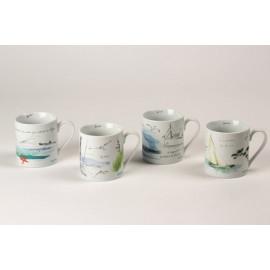 """Coffret 4 mugs """"Carnet de Voyage"""" Thalassa, JD Diffusion"""